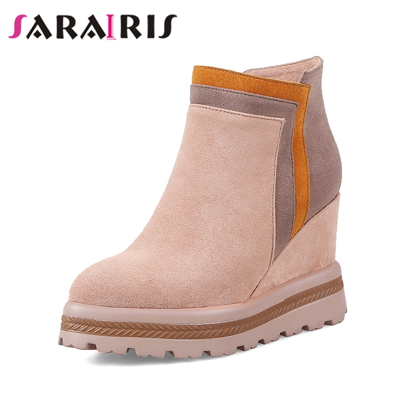 SARAIRIS 2019 plataforma de alta calidad Rosa negro invierno zapatos de mujer de cuero de ante de vaca botas de tobillo de piel caliente cuñas tacones altos-in Botas hasta el tobillo from zapatos    1