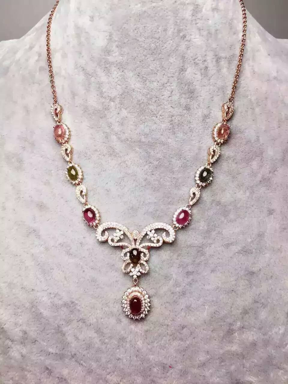 Natural multicolor tourmaline Necklace natural gemstone Pendant Necklace S925 silver trendy dragonfly women party Jewelry