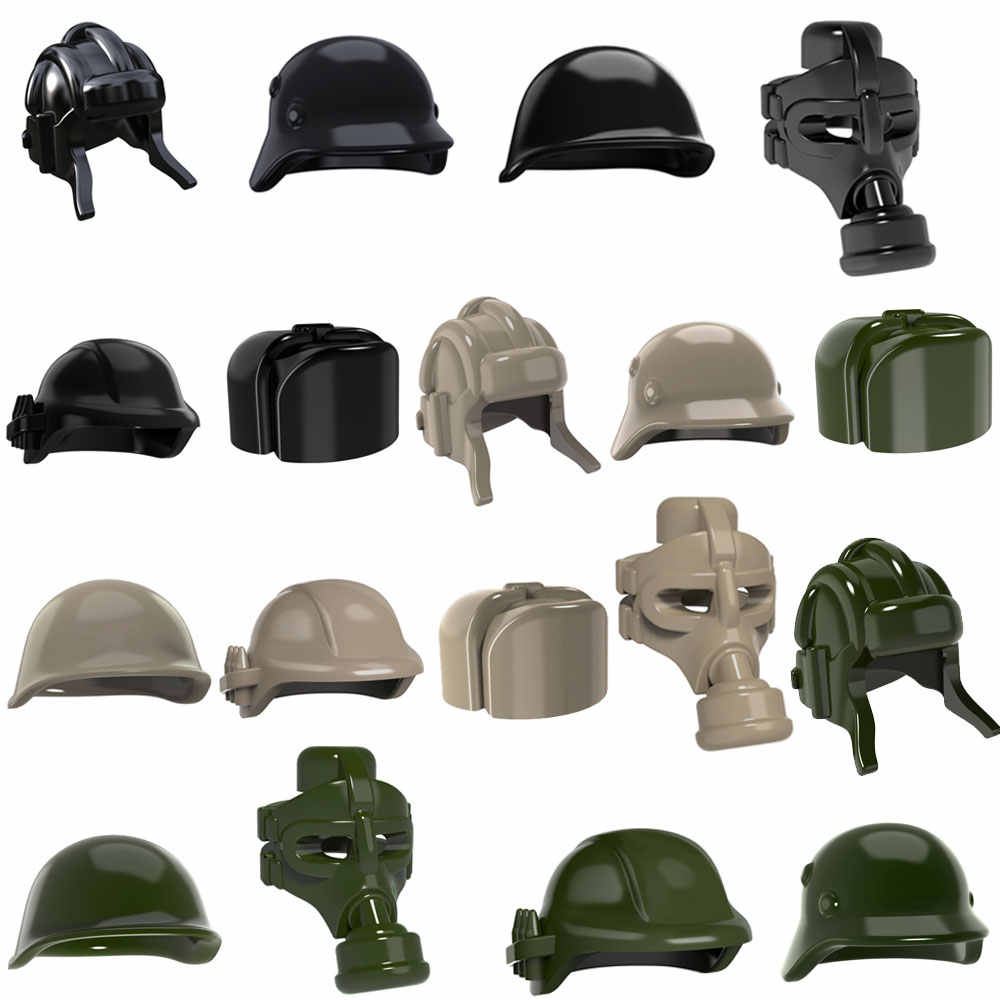 10pcs WW2 MOC Soldier Trooper Helmet Military Hat Gas Mask USHANKA Building Blocks Bricks UK US German Army Gifts Toys