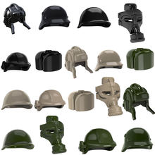 10pcs WW2 MOC Soldier Trooper Helmet Military Hat Gas Mask USHANKA Building Blocks Bricks UK US German Army Gifts Toys(China)
