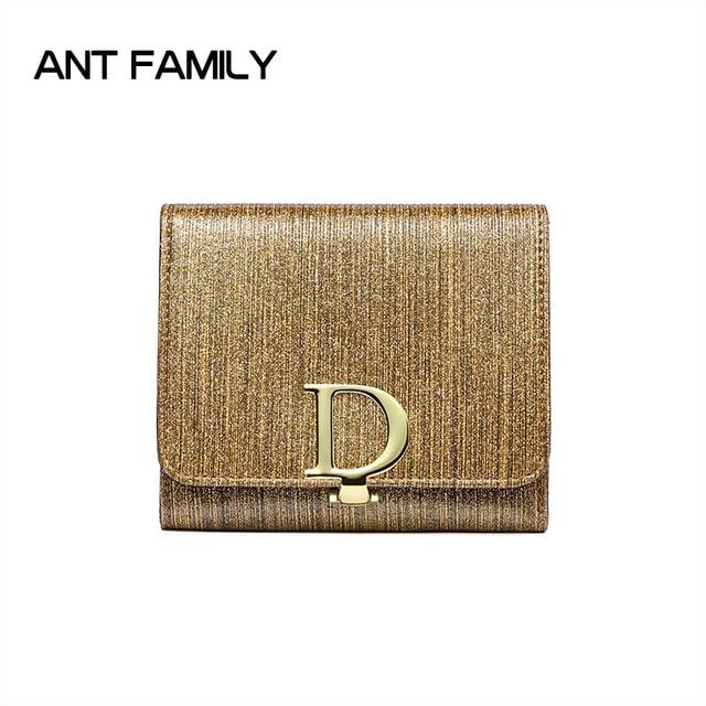Genuine Leather Women Wallet Female Small Fashion Mini Wallet Women Small Wallets Short Glitter Coin Purse Ladies Card Holder