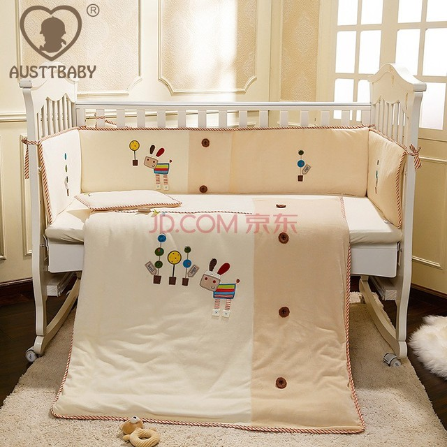 100 Cotton Embroidery Little Horse Baby Bedding Set Quilt Pillow Per Bed Sheet 5 Item