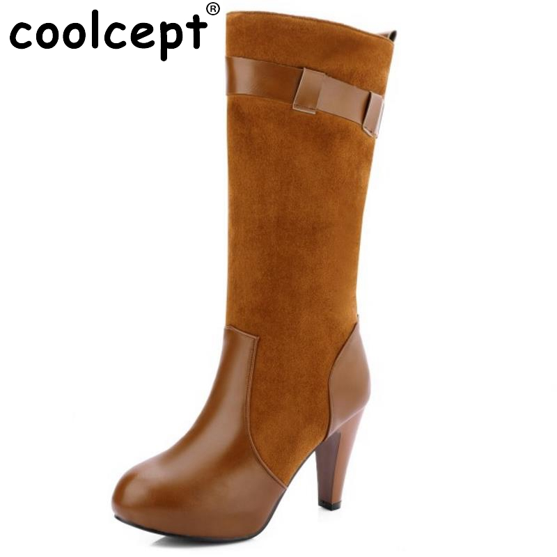 ФОТО Women Round Toe Knee Boots Fashion Woman Spike Heel Knight Boot Female High Quality Buckle Heels Footwear Shoes Size 33-43
