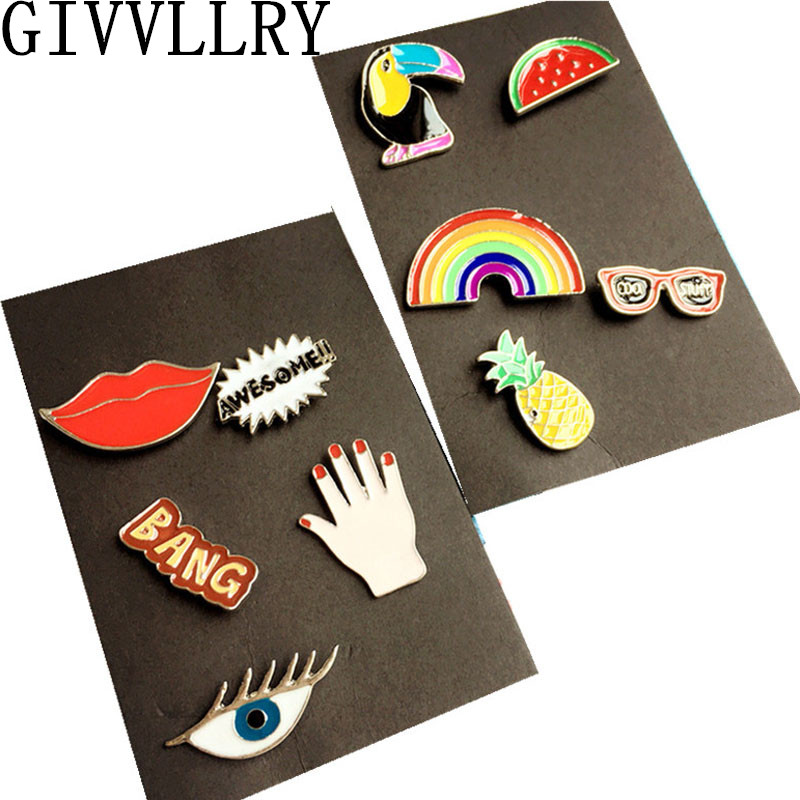 Brooches: 1 Set Bird Lip Fashion Cartoon Enamel Mini Button Brooch Pin Jewelry Accessories For Women Shirt Collar Pin Brooches Badge Gift