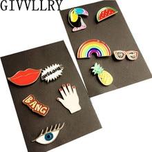 1 Unidades Pájaro Labio Esmalte Mini Botón de Dibujos Animados de Moda Broche Pin Accesorios de La Joyería Para Las Mujeres Camisa de Cuello Broches Pin Badge regalo