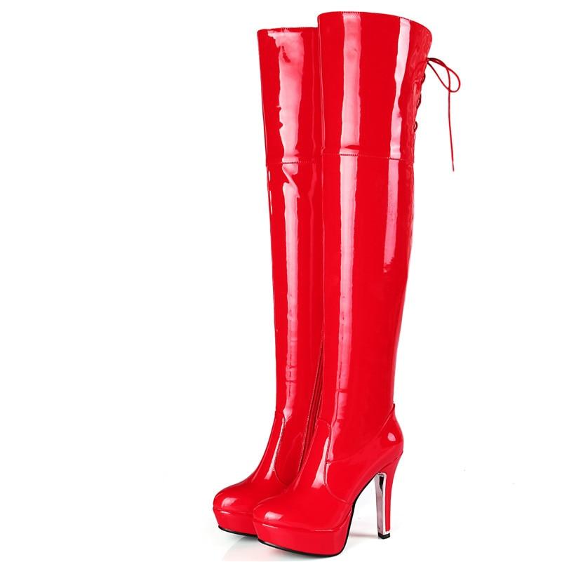 Sexy 1new La Altas Sobre rojo Rodilla Club Night Zapatos Llegada De Baile Negro Fedonas Cálido Mujer Alta Mujeres Talones Botas Invierno Otoño 8Hqwt8d