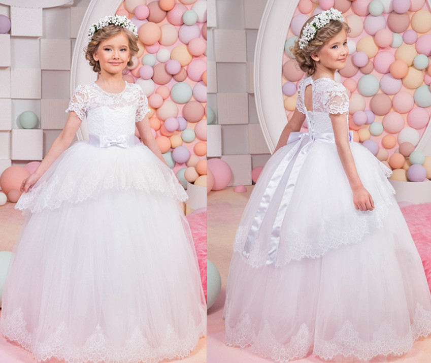 2017 New White Puffy Lace Flower Girl Dress for Weddings Short Sleeves Ball Gown Girl Party First Communion Pageant Gown Vestido 4pcs new for ball uff bes m18mg noc80b s04g