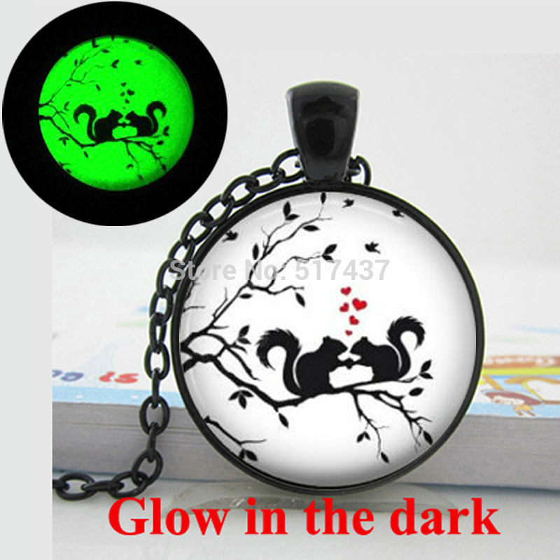 Glow in the dark Necklace ,Hearts Squirrels Valentine Gift ,Hearts and Squirrels Necklace Glass Art Photo Glowing Jewelry
