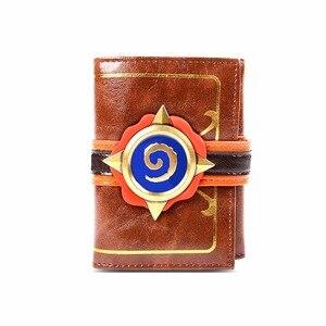 Image 5 - Hearstone carteira com três dobras, carteira curta em couro com gravura em heróis de warcraft hearstone