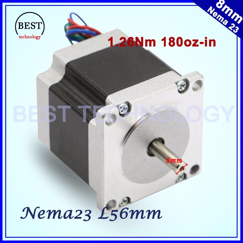 Stepper motor 57x56 D=8mm NEMA23 4 wires 3A 1.26N.m stepping motor 180Oz-in NEMA 23 for CNC engraving milling machine 3D printer