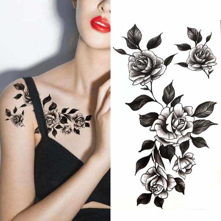 Detalle Comentarios Preguntas Sobre Negro Grande Flor Cuerpo Arte