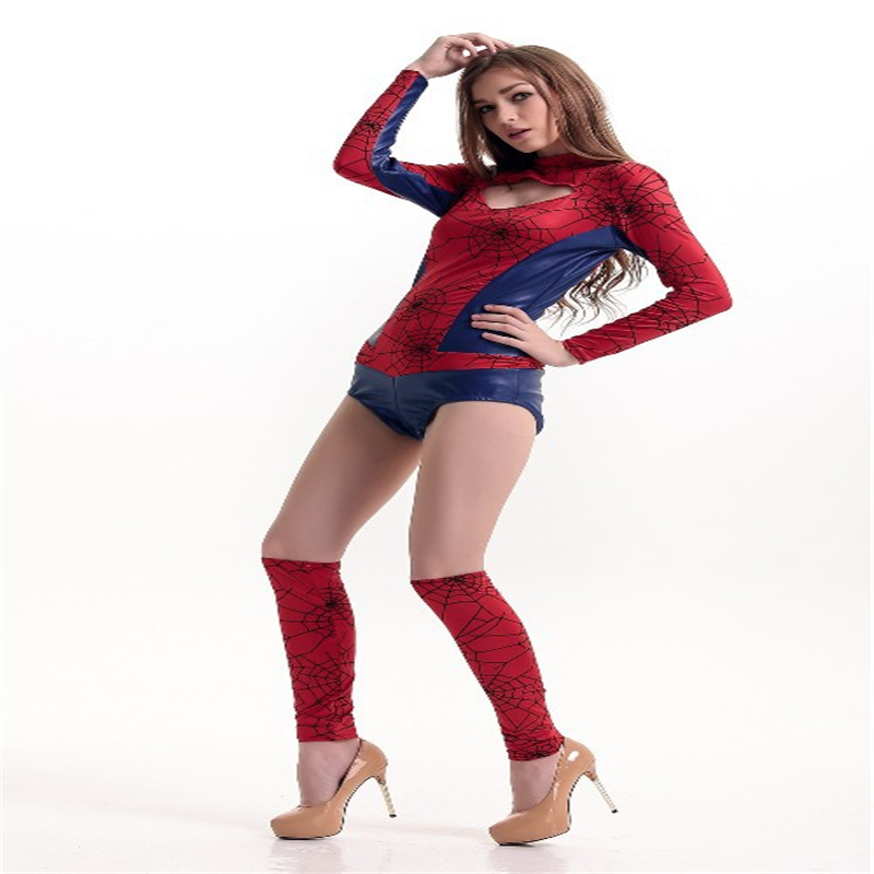 Halloween Costume Captain America Supergirl Siamese Spiderman Cosplay Role-playing Game Uniforms Women Sexy Clothing