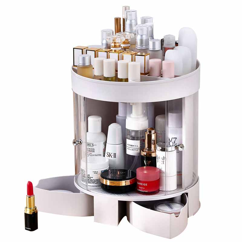 Plastic Cosmetic Storage Drawer Large Bathroom makeup jewelry organizer container 360 degree rotating plastic cosmetic case