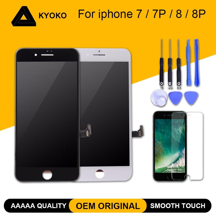100% aaaaa oem original tela lcd para iphone 7 mais tela 8 mais display lcd digitador da tela de toque módulo substituição