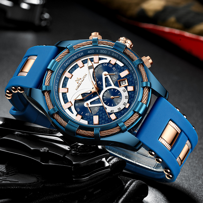 MEGALITH Luminous Display Watch Men Top Brand Luxury Fashion Wrist Watches Waterproof Sport Chronograph Quartz Men Watches(China)