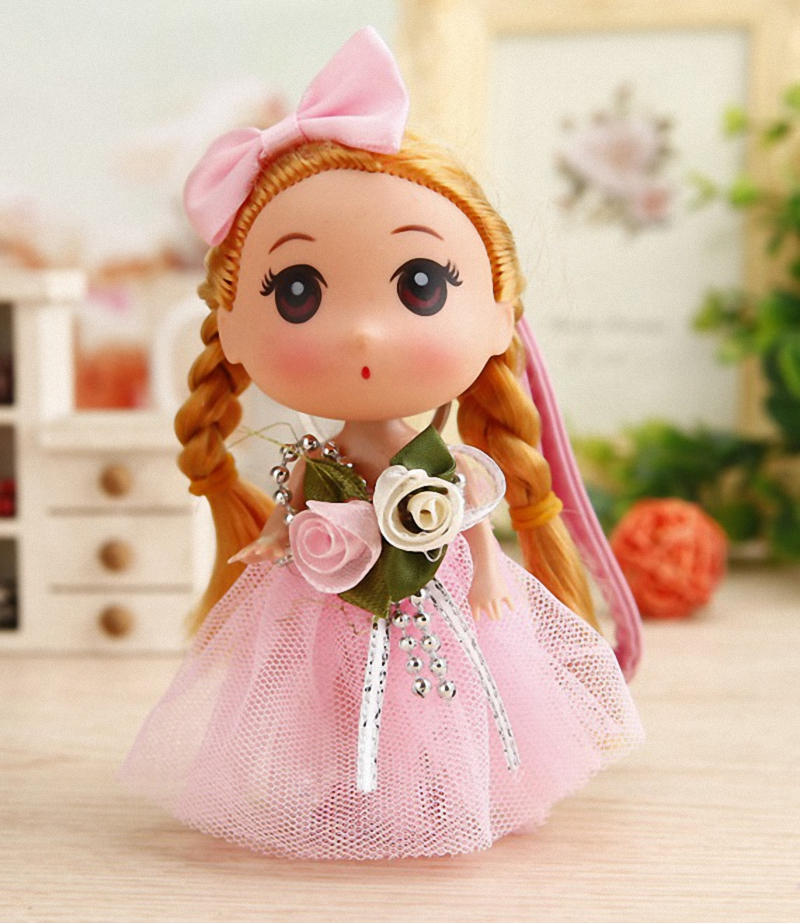 Cute Baby Dolls Wedding Dress Princess Keychain For Girls