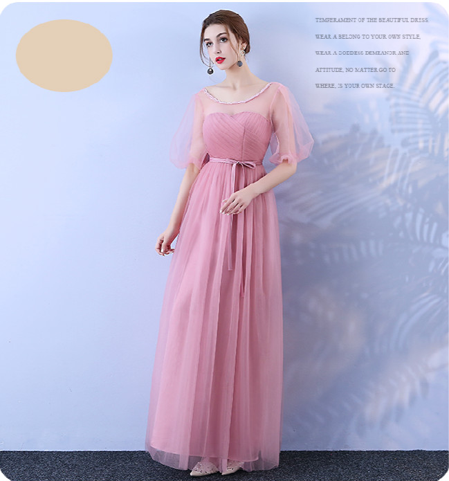 Red Bean Pink Bridesmaid Long Dress For Wedding Party Woman Dress Back Of Bandage