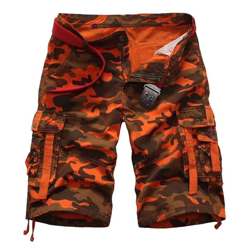 fdb70e305 Pantalones cortos de carga de camuflaje para Hombre Pantalones cortos de  trabajo holgados casuales de algodón de camuflaje para hombre