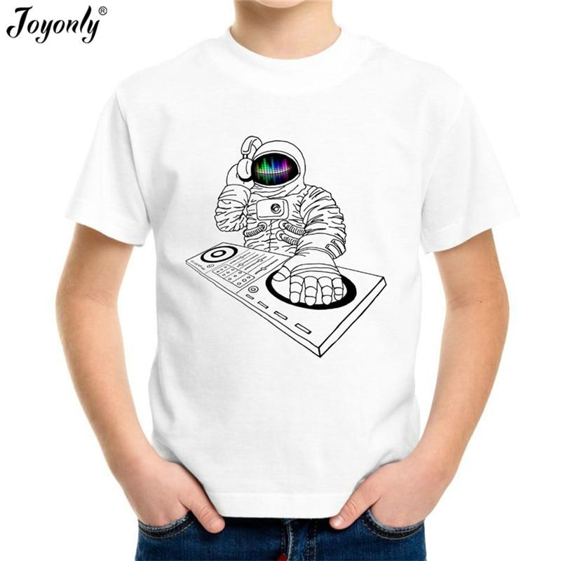 Joyonly Boys Astronaut printed T shirts Children White Tshirts Child Clothing Kids t-shirt Girl Clothes