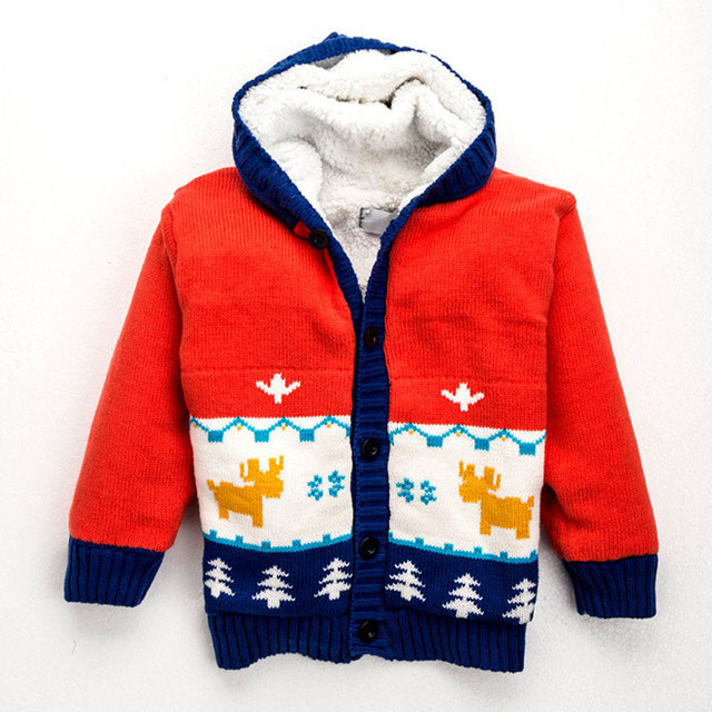 Kids Sweater For Girls Boy 2016 Winter European and American Style Boys Sweater Long Sleeve Cute Cartoon Hooded Baby Boy Sweater