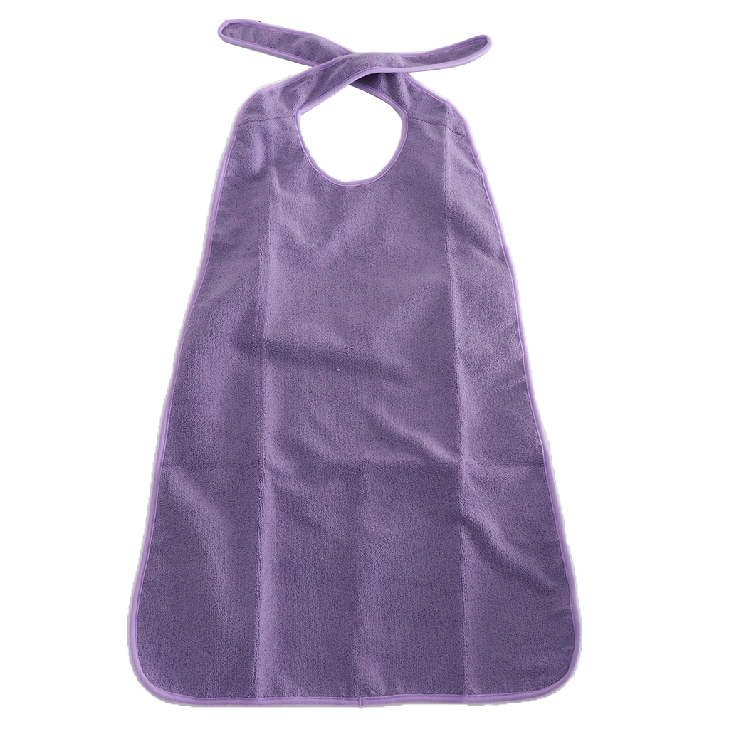 Large Reusable Tie back Terry Cloth Adult Bib Waterproof Mealtime Spill Clothing Protector 22x 35inch Purple