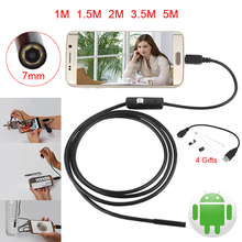 Android  Endoscope 7mm lens Camera Car Inspection Pipe IP67 Waterproof Snake Tube Micro USB 6LED Mini Camera For Android Phone
