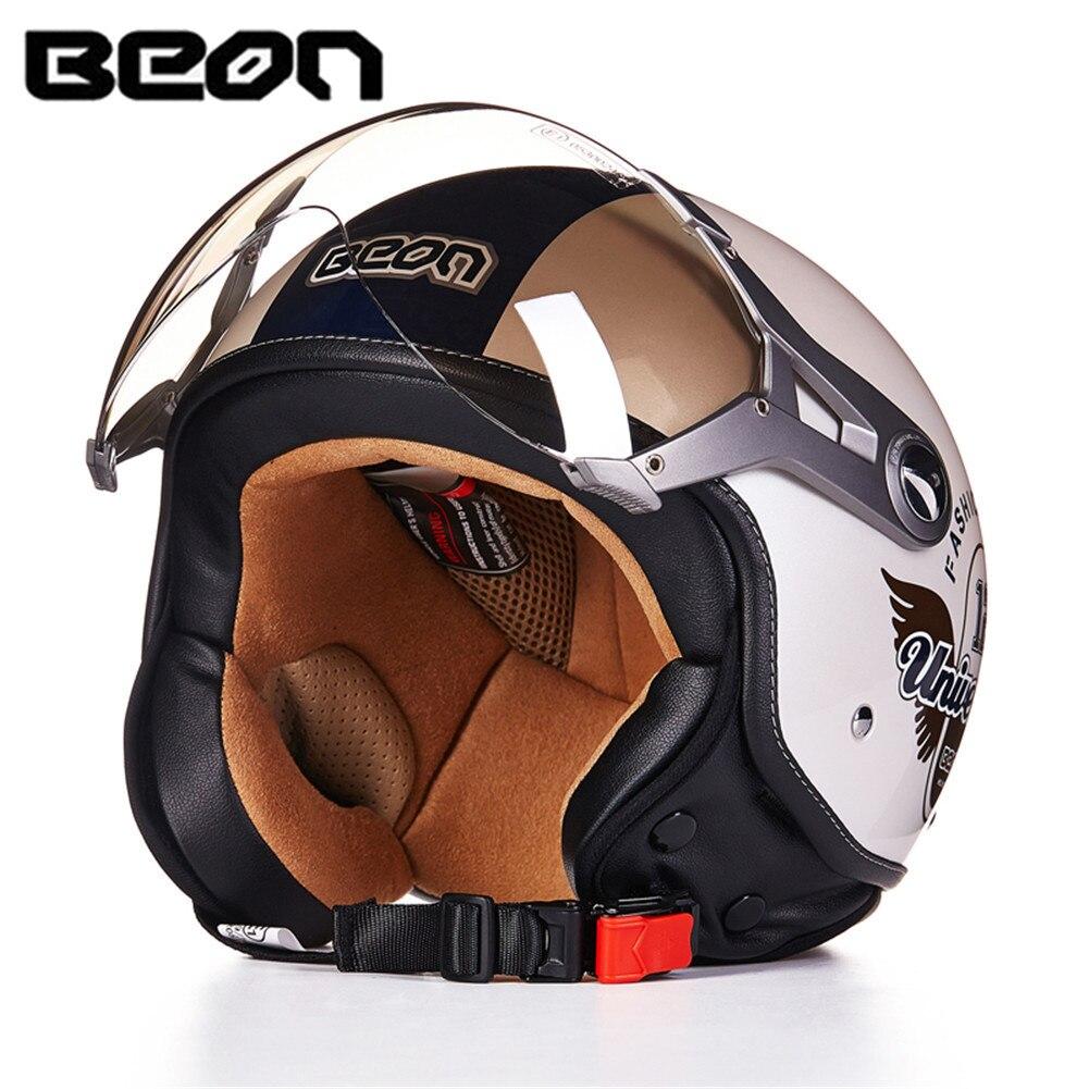 BEON-100 ECE Motorcycle Helmet Chopper 3/4 Open Face Vintage Helmet Moto Casque Casco motocicleta Capacete Moon Unisex helmets