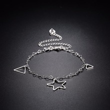 Super Star geometric Anklets feet wear charm romantic 925 ture Silver Creative life safe chains For girls Jewelry Gift free a187