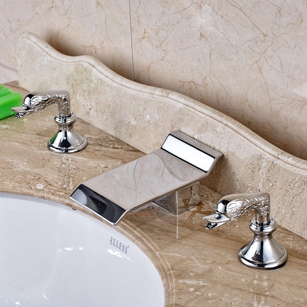 Bathroom Basin Faucet Dual Swan Handles Sink Mixer Tap Chrome Brass