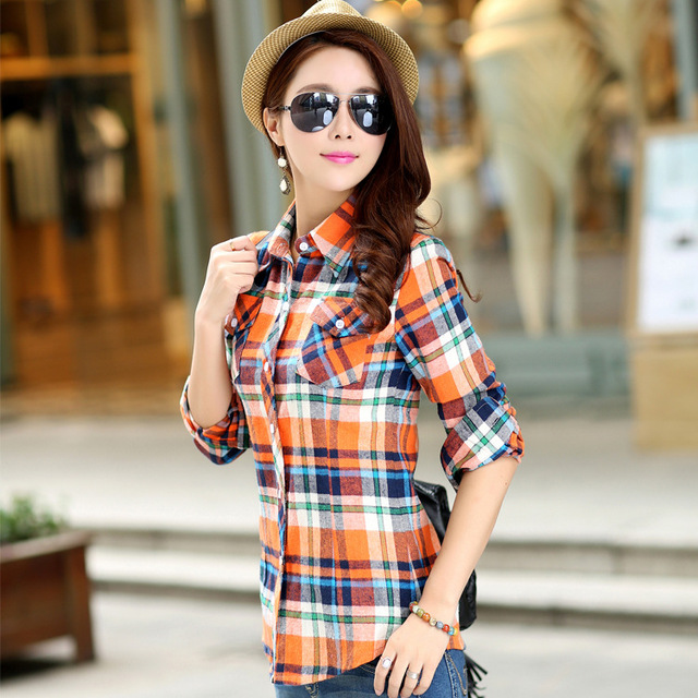 The new female long sleeved Plaid Shirt cotton dress Korean slim female  ladies Plaid Plaid Shirt ffce44ded4
