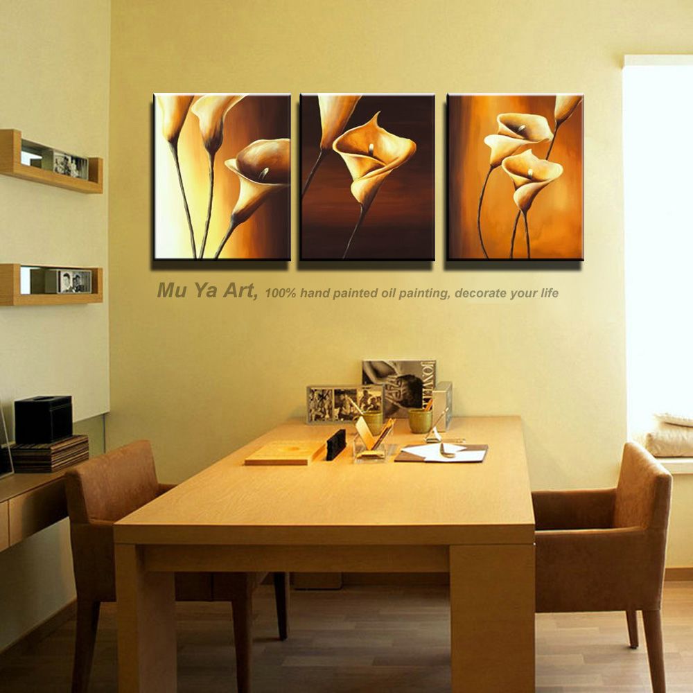 Abstract 3 piece wall art decor canvas modern cheap hand painted ...
