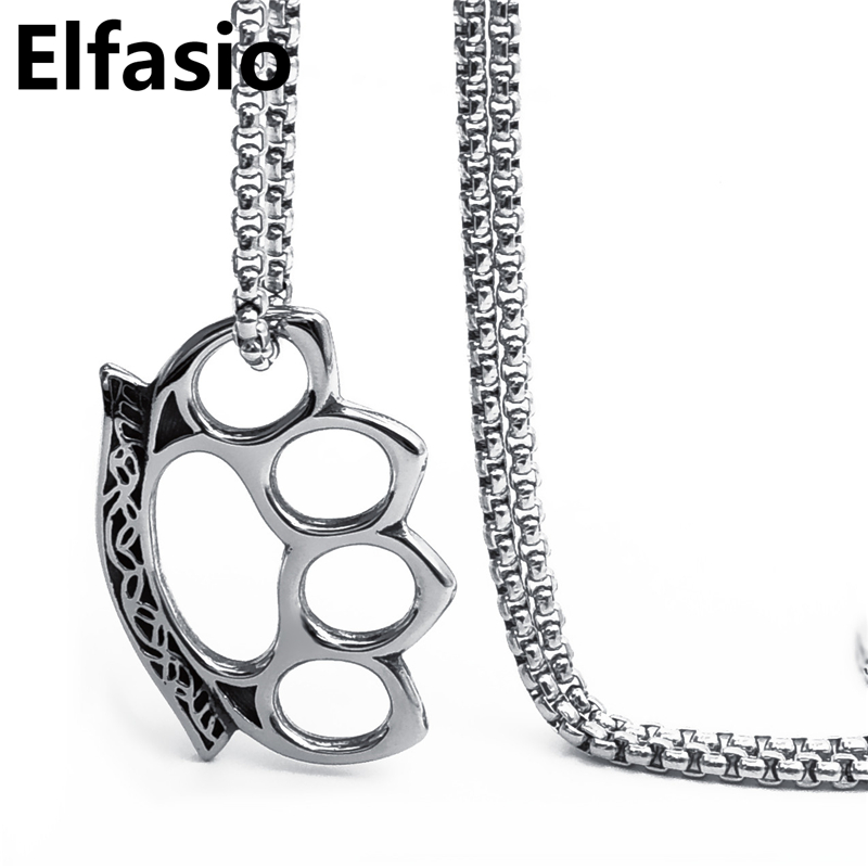 Elfasio Mens Large Double Silver Tone Skulls Stainless Steel Biker Pendant Necklace Chain Length 20-30inch