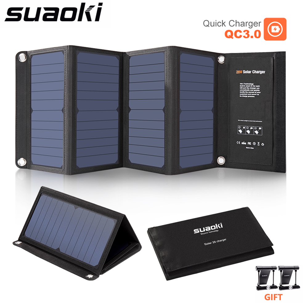 SUAOKI 28W Portable Solar Cells Charger Sunpower QC 3.0 Quick Charging 3 USB 3.1A Output Port for iPhone iPad Samsung Tablet цены онлайн