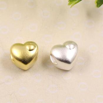 3D 100% 999 Silver Beads Pure Silver Heart-shape Beads Real Silver Heart love Beads DIY Bracelet Beads фото