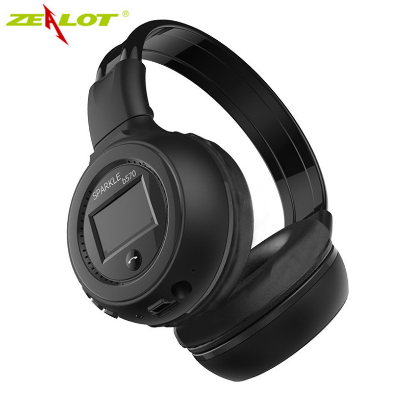 ZEALOT B570 Stereo Wireless Bluetooth Headphones HiFi Headset With Microphone LCD Screen Micro-SD Slot For Smartphone PC Gamer zealot b570 headset lcd foldable on ear wireless stereo bluetooth v4 0 headphones with fm radio tf card mp3 for smart phone