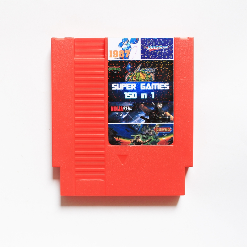 Good quality 72 Pins 8 bit Game Cartridge <font><b>150</b></font> in <font><b>1</b></font> with <font><b>Rockman</b></font> <font><b>1</b></font> <font><b>2</b></font> <font><b>3</b></font> <font><b>4</b></font> <font><b>5</b></font> <font><b>6</b></font> NINJA TURTLES Contra Kirby's Adventure 10Pcs/Lot image
