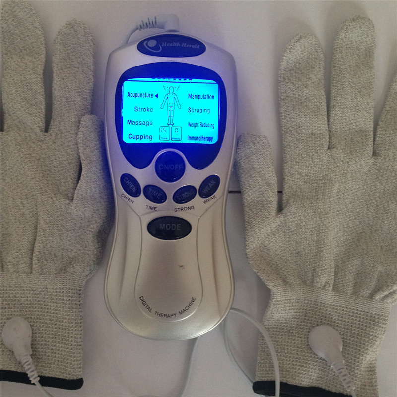 Electric Tens Accupuncture Therapy Vibrating Shock Massager With Conductive Electrode Gloves Physiotherapy Muscle Stimulator muscle stimulation massager physiotherapy prostate equipment magnetic prostatitis vibrating prostate massager electric