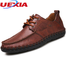 Leather Shoes Brogues Oxfords Flat Heels Round Toe Handmade Casual Moccasins Loafers Fashion Brand Flats Comfy Driving Men Shoes