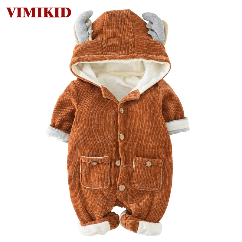 VIMIKID Newborn Baby Girls Boys Clothing Romper Long Sleeve Single-breasted Thickening Warm Solid Color Children Clothes Romper 2016 winter new soft bottom solid color baby shoes for little boys and girls plus velvet warm baby toddler shoes free shipping
