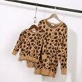 2015 de moda de nova correspondência mãe filha filho roupas de outono inverno meninos meninas leopardo blusas família jogo roupas