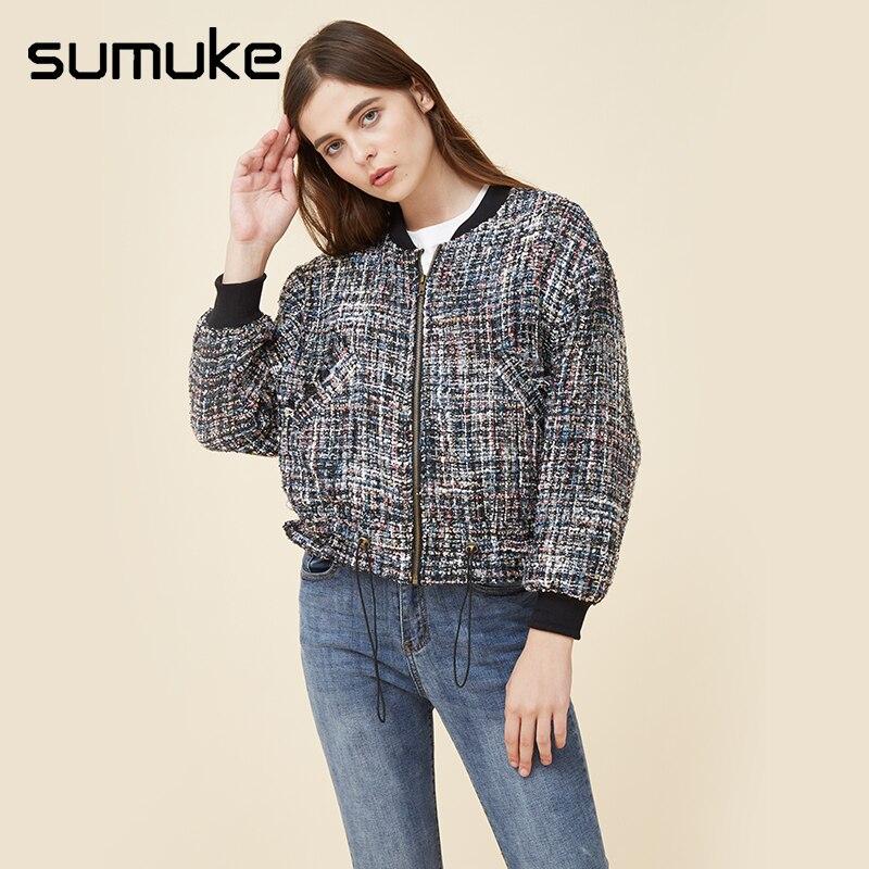 Sumuke Casual Fashion Harajuku Tweed   Jacket     Basic     Jacket   for Women Vintgae Multicolor Collarless Elegant Short Coats Feminina