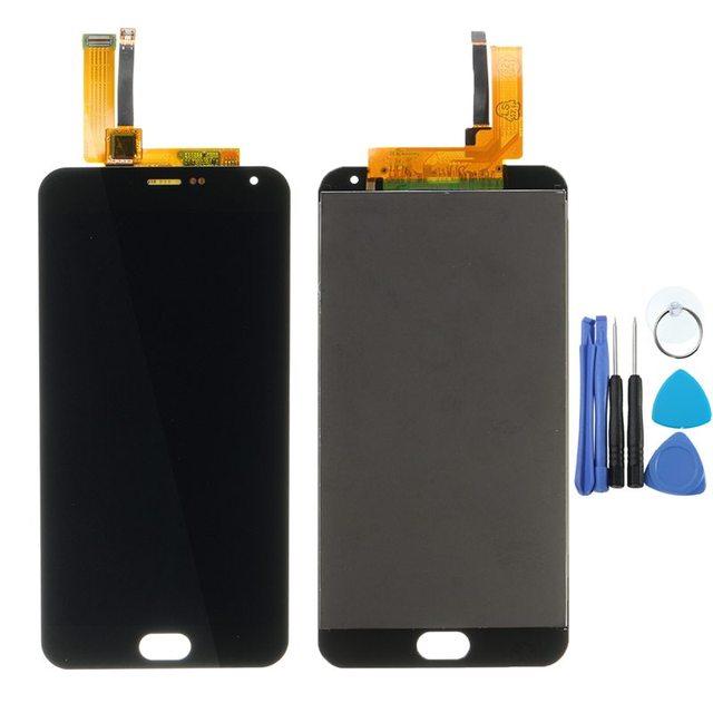 Conjunto do visor externo touch screen digitador de vidro lcd para meizu Meilan Nota M2 M571 Painel da Tela de Toque Cor Preta + ferramentas