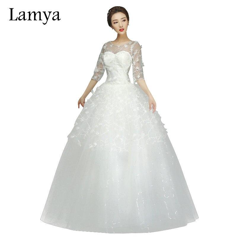 Romantic Wedding Dresses 2019: LAMYA Lace Flower With Half Sleeve Romantic Wedding