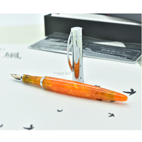 Gold Nib Fountain Pens Small M Nib 0.5mm Black Orange Acrylic Ink Pens for Writing Office Business Gift Pens with Original Box