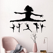 Dancing Girl Silhouette Wall Sticker Beauty Fashion Decoration For Girls Room Gymnastics  Home Decor Art Mural W554