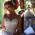 Illusion Long Sleeve Ball Bridal Gown Heavy Crystal Beaded White Wedding Dresses Vestido De Noiva Wedding Gown for women
