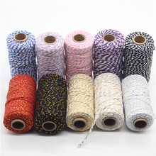 100M* 2MM Double Color Cotton Baker Rope Twine for Handmade Accessories Wedding Party Decoration Gift DIY Wrapping