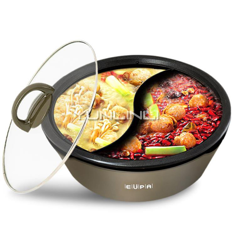 Electric Hot Pot Shabu Multi-function Non-stick Aluminum Alloy Cooker  Home Kitchen Spill Proof Design TSK-8219YGElectric Hot Pot Shabu Multi-function Non-stick Aluminum Alloy Cooker  Home Kitchen Spill Proof Design TSK-8219YG