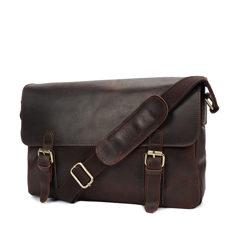 Vintage Men's Genuine Leather Luxury Briefcase Portfolio Handbag Sling Bag For Male Man Crossbody Shoulder iPad Bag YD009