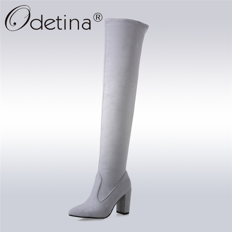 Odetina Fashion Women Sexy Faux Suede Thigh High Boots High Heels Ladies Over The Knee Boots Pointed Toe Square Heel Big Size 46 цены онлайн